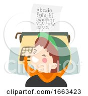 Kid Boy Play Typewriter Alphabet Illustration