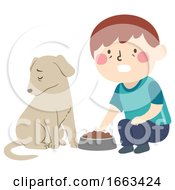 Poster, Art Print Of Kid Boy Pet Dog Dying Loss Appetite Illustration