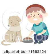 Kid Boy Pet Dog Dying Loss Appetite Illustration