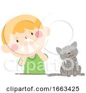 Kid Boy Pet Allergy Illustration