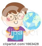 Kid Boy Hold Earth Book Illustration