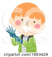 Kid Boy Wear Gloves Illustration