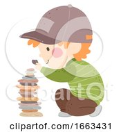 Kid Boy Stone Tower Illustration