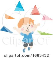 Kid Boy Types Of Triangles Illustration