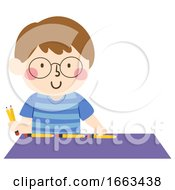 Kid Boy Measure Table Pencil Illustration