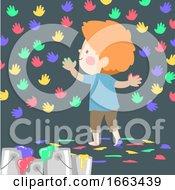 Poster, Art Print Of Kid Boy Feet Hands Patterns Illustration