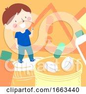 Kid Boy Aware Medicine Danger Illustration