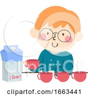 Kid Boy Measure Quart Cups Illustration