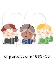 Poster, Art Print Of Kids Boy Group Hear Pause Illustration