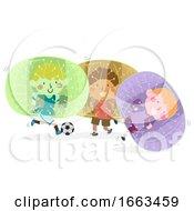 Kids Boy Group Play Bubble Football Illustration