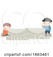 Poster, Art Print Of Kids Draw Follow The Line Illustration