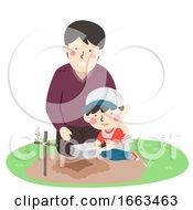 Kid Boy Dad Memorialize Pet Illustration
