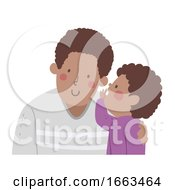 Kid Boy Black Whisper Father Illustration
