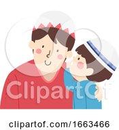 Kid Boy Muslim Whisper Father Illustration