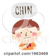 Kid Boy Naming Body Parts Chin Illustration