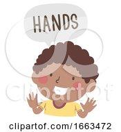 Poster, Art Print Of Kid Boy Naming Body Parts Hands Illustration