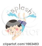 Kid Boy Dive Onomatopoeia Sound Splash
