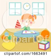 Kid Girl Early Math Experience Shapes Illustration
