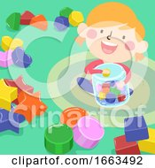 Kid Girl Sorting Shape Illustration