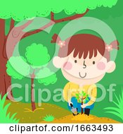 Kid Girl Seedling Plant Illustration