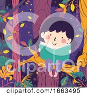 Kid Girl Magical Night Forest Trees Read