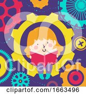 Kid Girl Read Book Gears Illustration