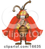 Ant Bug Mascot Cartoon Character Wearing A Mask And Red Super Hero Cape