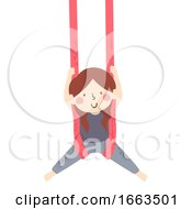 Kid Girl Aerial Skill Silks Illustration