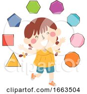 Kid Girl Regular Polygons Illustration