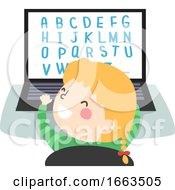 Kid Girl Play Laptop Alphabet Illustration
