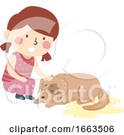 Poster, Art Print Of Kid Girl Pet Dog Dying Uncontrollable Bladder