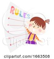 Kid Girl Follow Rules Illustration