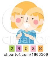 Kid Girl Count By Twos Illustration