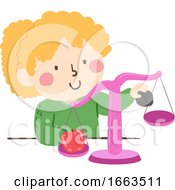 Kid Girl Measure Weight Balance Scale Illustration
