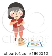 Kid Girl Sweep Floor Square Clean Activity