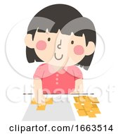Kid Girl Measure Square Paper Illustration