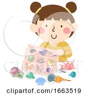 Kid Girl Sea Shell Collection Illustration
