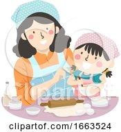 Kid Girl Mom Teach How To Bake Illustration