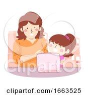 Kid Girl Mom Teach Online Shopping Illustration