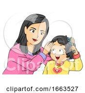 Kid Girl Mom Toddler Teach How To Comb Hair