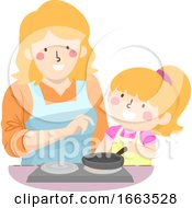 Kid Girl Mom Turning On Stove Supervision
