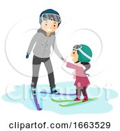 Stickman Kid Girl Teacher Ski Lesson Illustration