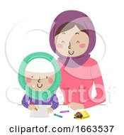 Kid Girl Muslim Mom Draw Illustration