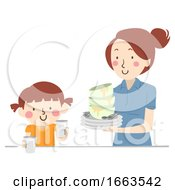 Kid Girl Mom Help Clearing Table Illustration