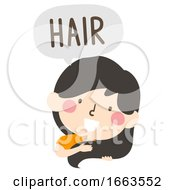 Kid Girl Naming Body Parts Hair Illustration