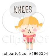 Kid Girl Naming Body Parts Knees Illustration