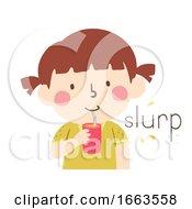 Poster, Art Print Of Kid Girl Drink Straw Onomatopoeia Sound Slurp