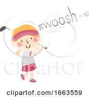 Kid Girl Golf Onomatopoeia Sound Swoosh