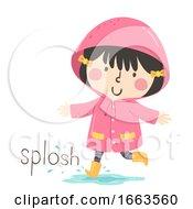 Poster, Art Print Of Kid Girl Rain Onomatopoeia Sound Splosh