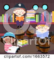 Kids Read Books Pirate Library Illustration
